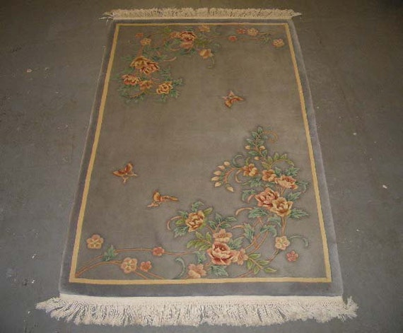 """20% OFF SALE! - 1980s Vintage, 90-line, 5/8"""", Sculpture Chinese Rug in Art Deco Style"""