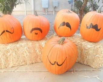 DIY Halloween Pumpkin Mustache Vinyl Kit  - Set of 5 vinyl mustache mustache decals