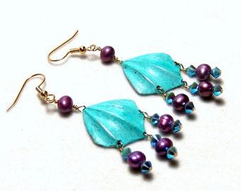 Turquoise Rose Beaded Fan Earrings Bohemian Jewelry Tribal Jewelry