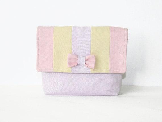 Makeup bag pastel pale purple with little bow