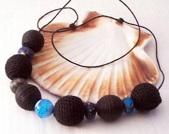 Ethical Handmade Necklace, Lampwork Bead and Vintage Material Bead Necklace, Vintage Bead Necklace, Eco Necklace