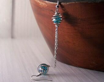 REDUCED PRICE, Handmade Swarovski Earrings, Blue Dangle Earrings, Blue Earrings, Crystal Earrings