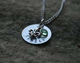 Hand Stamped Necklace Fleur De Lis Necklace and Birthstone