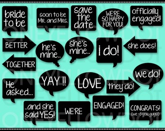 INSTANT DOWNLOAD - Engagement Photo Booth Props Printable - PDF - Personal and Commercial Use - No Credit Required
