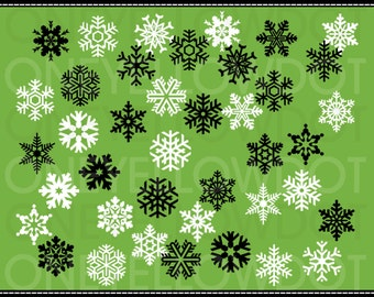 INSTANT DOWNLOAD - 40 Snowflakes Digital Clipart 528 - PNG - Black and White - Personal and Commercial Use - No Credit Required