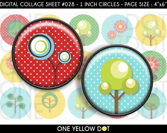 INSTANT DOWNLOAD - 1 Inch Circles Digital Collage Sheet - Various Trees and Flowers - Bottle Caps Scrapbooking Pendant Magnets Tags - 028