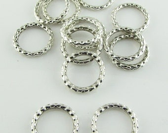 Tibetan silver connector links,24mm, silver rings, 6 pieces