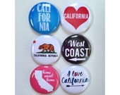 Set of 6 California Scrapbooking Flat Back Craft Badges