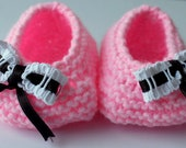 Cotton Candy Knitting Soft Baby Ballerina Shoes / 0-3 Month / New born Slippers / Booties / Photo Prop - Clothing