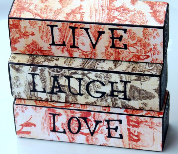 Live, Laugh, Love Decorative Block Set - Home Decor - Mantle Decorations - Decorative Gift - Office Decor - Dorm Decor