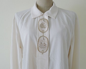 Delicated and Lovely vintage cream long sleeves blouse, office blouse, slouchy, petite ballet girl embroidery on front, S-M-L  - ballenina