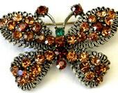 Vintage Smoked Topaz Rhinestone Figural Butterfly Brooch Pin