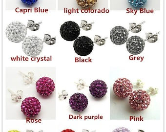 Wholesale 10 Pairs 8mm Crystal stones Bead Pave Disco Ball Rhinestone Beads With 925 Silver Earrings Studs / Can Choose Any Color