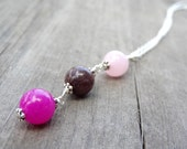 Pink Brown Rose Quartz Bead Pendant Crystal Silver Necklace Jewelry