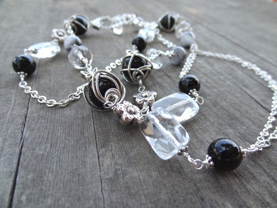Long Black and White Silver Chain Crystal Bead Necklace with rutilated quartz, Onyx, Agate, Quartz, Butterflies, Butterfly, Flower, Flowers