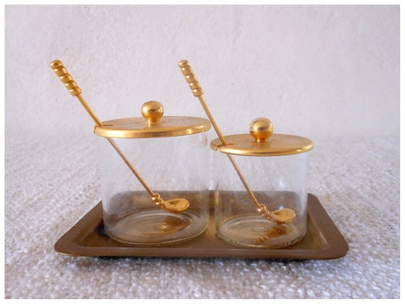 Antique french salt and pepper shakers with spoon - white and gold colors - romantic shabby chic