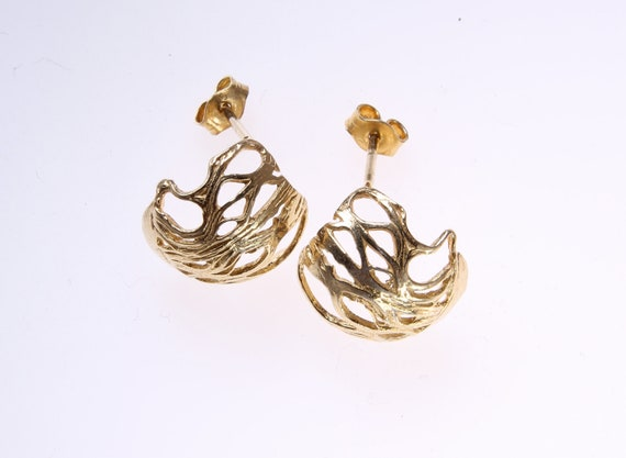 Gold  Button studs earrings ,gift for her,redy to ship