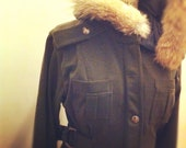 SALE Tuck Luxury Fur-Trimmed Military Coat - Size S, M, L .. Military Green, Black or Grey Heather