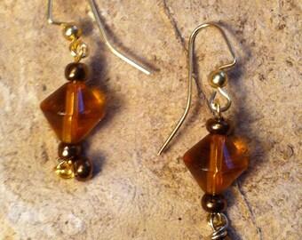 Topaz with Brass Dangle earrings