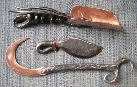 Copper spade, sickle, and herb knife. Garden Tools Hand forged by Blacksmith.