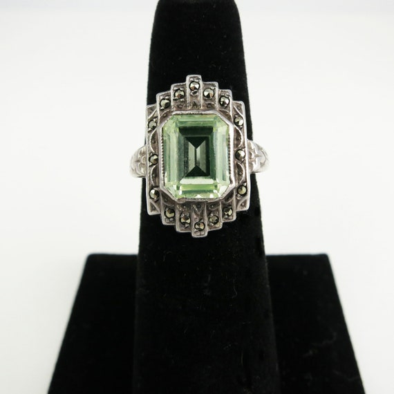 Art Deco Sterling Silver, Peridot and Marcasite Ring, Size 6