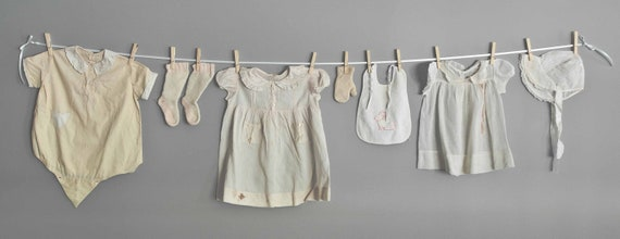 Clothes Line of Vintage Baby Clothes for Nursery Decor or