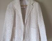1980's Women's White Cream Iridescent Sequin Open Blazer with Pockets Medium/Large