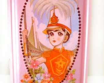 Vintage old pencil case of Handsome girl