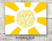 You are my Sunshine Yellow Gray Gender Neutral Baby Nursery Decor Typography Poster Kids Wall Art Baby Shower Gift 8x10 print. By MossyJojo. - MossyJojo