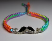 Mustache Bracelet with rhinestones and rainbow neon cord