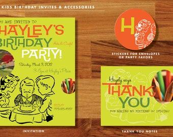 Kids Birthday Invitation Set / Classic-Retro Design