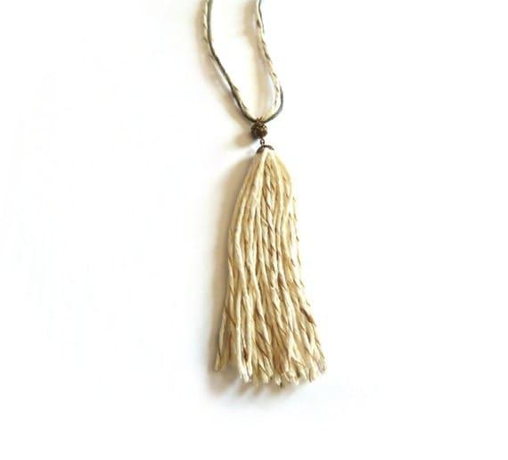 Nappa necklace - cream cotton thread and copper pearl for a romantic and fine necklace