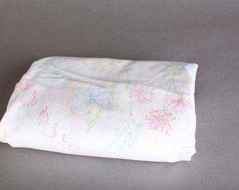 Twin Floral Top Sheet, Flowers and Butterflies