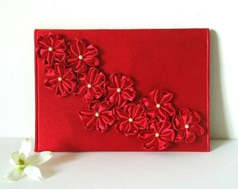 Red Clutch, Red Flowered Clutch, Envelope Clutch
