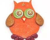 Wall decor owl, polymer clay elegant owl, a single owl in maroon, green, orange, gold and red, nursery owl decor