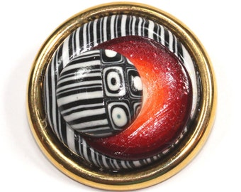 Elegant brooch, Red, white and black brooch, polymer clay brooch, retro and stripes pattern, unique gift for women