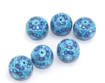Blue round beads, polymer clay beads, unique spiral pattern in blue, turquoise and white, elegant beads, set of 6
