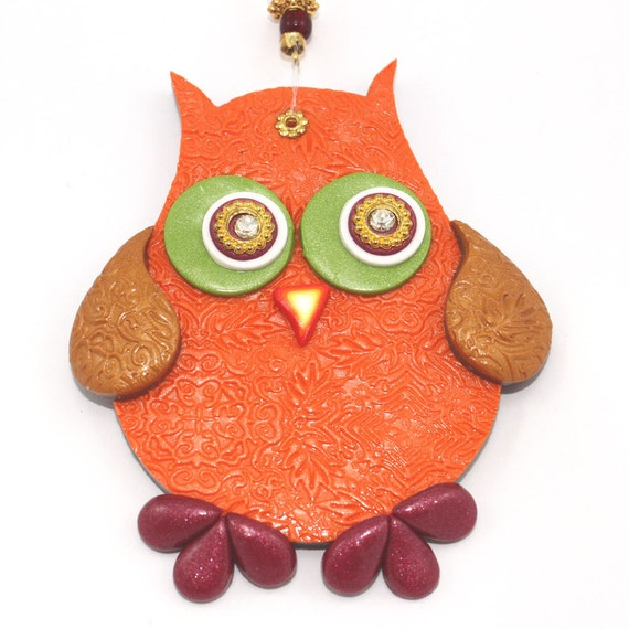 Wall Decor With Clay : Wall decor owl polymer clay elegant a single by