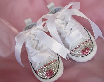 HEART Baby Girl Converse White Leather Christening Wedding Baptismal Swarovski Infant Crib Shoe Size 1 , 2 , 3 , 4 Bling Rhinestone Sneaker