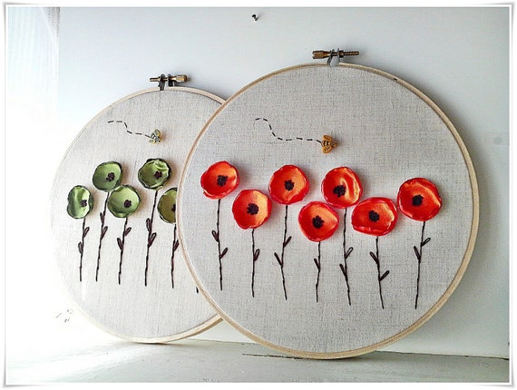 Parede Bordados aro arte - Poppy Flower Garden