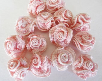 Pink Fabric Roses QTY 14