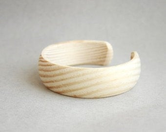 25 mm Wooden cuff unfinished round with break - natural eco friendly DE25C