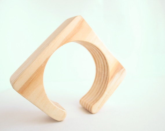 30 mm Wooden cuff unfinished square with break - natural eco friendly ma30c
