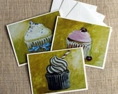 3 Cupcakes Greeting Card Set, original art cupcakes, blank card, note cards, still life art, reproduction art, cards and envelopes, 5x6.5