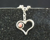 Sacred symbols: heart with coral in sterling silver