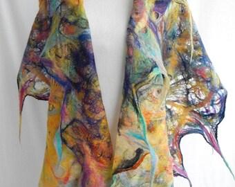 felted scarf, shawl AQUALILA handmade, art to wear, wool scarf, 100% eco fashion by kantorysinska