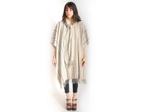 SALE // Rad Striped Wool Fringe Poncho