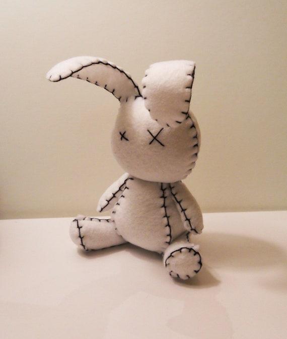 Felt little goth white rabbit plush stuffed toy