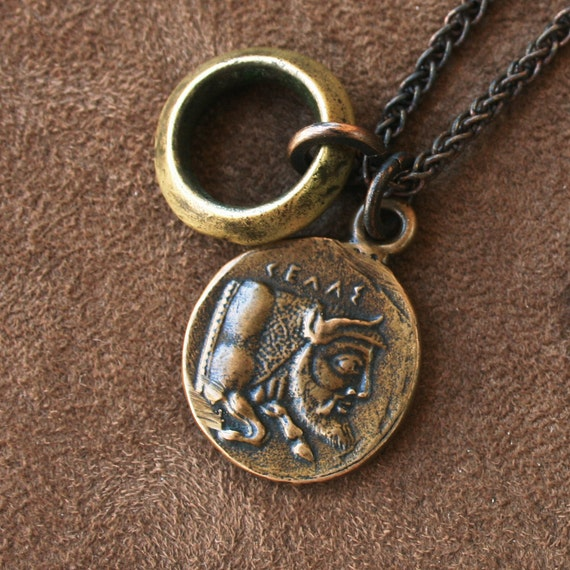 Solid Bronze Man-Headed Bull Pendant Necklace Coin African Brass