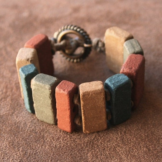 Vintage Multi-Colored Rustic Macrame Bracelet with Solid Bronze Clasp